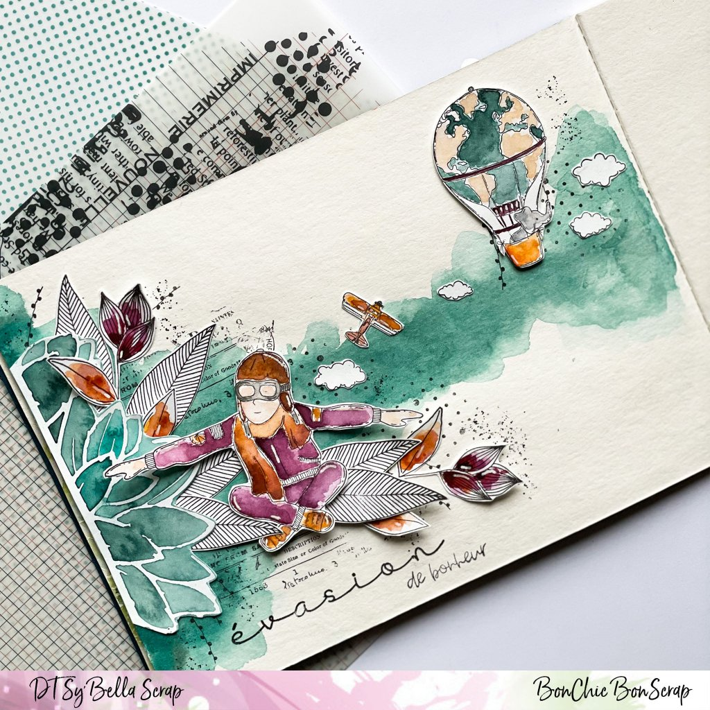 DANS LE CARNET CREATIF DE PHILIPPINE IL Y A : L'AVIATEUR DE CHOU AND FLOWERS