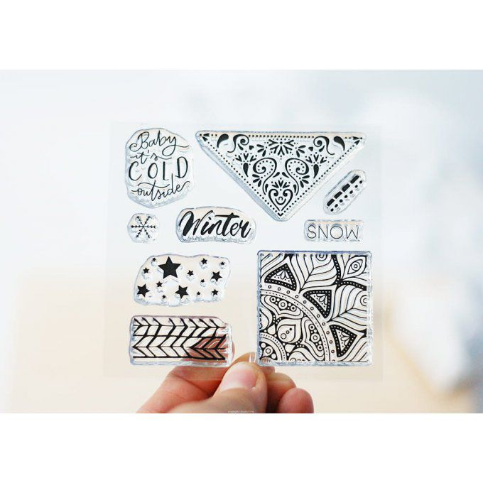 Tampons WINTER MOSAIC - Coll JOYFUL  STUDIO FORTY
